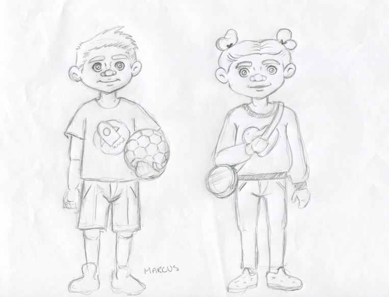 marcus and girl- sketches